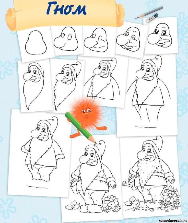 Как рисовать гномиков по картинкам