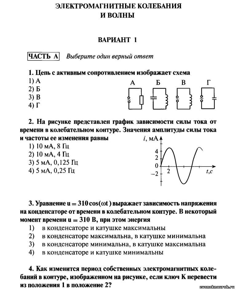 Контрольная работа электромагнитные колебания волны 2553