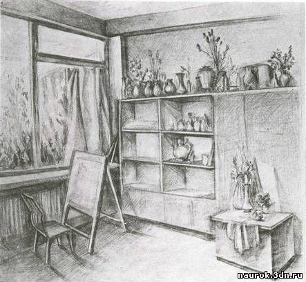 Интерьер рисунок комнаты