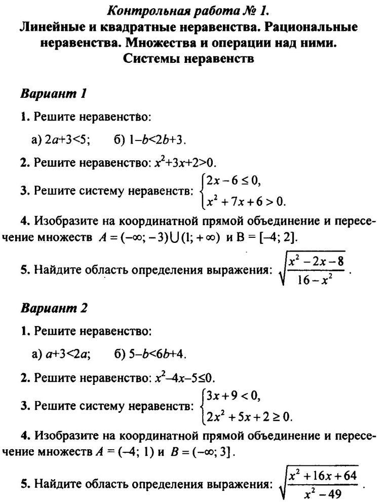 Контрольная работа алгебра неравенства 463
